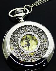 Винтажная стильная подвеска часы кулон на цепочке