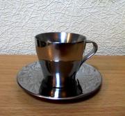 Чашка и блюдце для эспрессо из нержавейки 110 мл